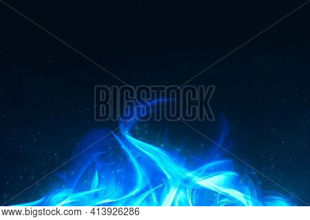 3D dramatic blue fire flame border frame with black background