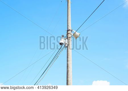 Group Of Surveillance Camera On Pole In The City. Surveillance Of Citizens, Face Recognition System.