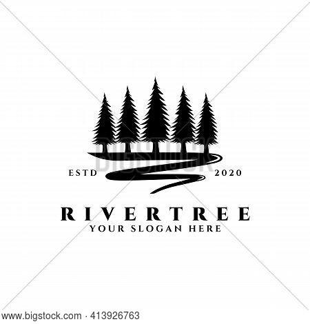River Tree Logo Vector Illustration Design, Pine Tree And River Icon