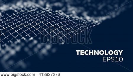 Crypto Blockchain Data Background. Blockchain Wave Grid Abstract Vector Background. Technology Futur
