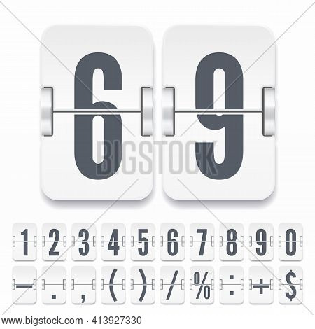 Flip Numbers And Symbols On White Mechanical Scoreboard With Shadows. Vector Template For Time Count