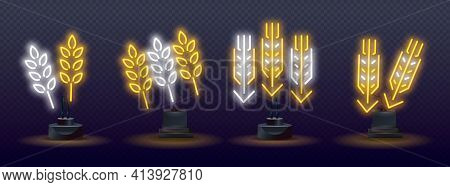 Glowing Neon Icon With Ear Of Wheat, Rye, Malt, Barley For Night Beer Bar. Neon Style Background. Ea