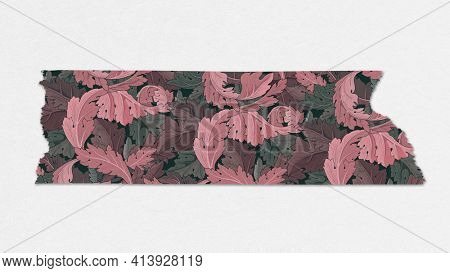 Leafy washi tape pink journal sticker remix from artwork by William Morris