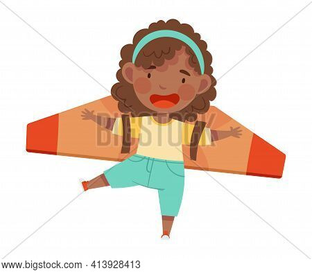 Playful African American Girl With Improvised Fake Wings Flying And Playing Vector Illustration