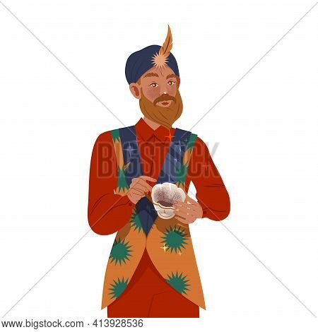 Bearded Man In Turban As Fortune Teller Reading Coffee Grounds Predicting Future Vector Illustration