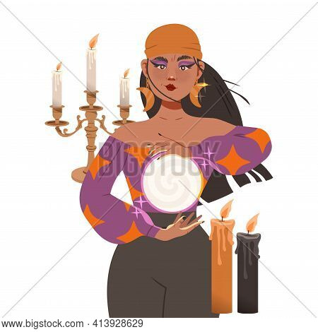 Gypsy Woman As Fortune Teller With Crystal Ball Predicting Future Or Performing Occult Ritual Vector