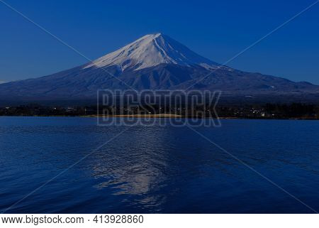 Mt. Fuji In The Morning With Blue Sky From Nagasaki Park In Lake Kawaguchi Japan 03/23/2021