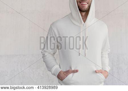 White trendy hoodie) street style menswear fashion shoot