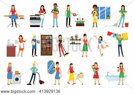 Energetic Housewife Cooking, Doing Shopping And Cleaning House Vector Illustration Set