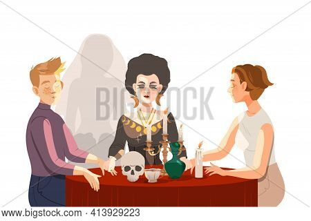 Woman As Fortune Teller Or Psychic At Table With Candle And Skull Performing Occult Ritual With Clie