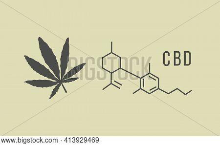 Cbd Hemp Oil Illustration In Organic Color With Marijuana Leaf And Chemical Formula On Pastel Backgr