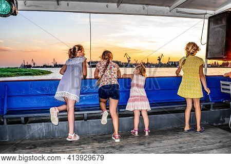 Kherson, Ukraine - July 22, 2020: Children Admire The Panorama Of Kherson On The Decks Of A Motor Sh