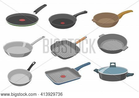 Frying Pan Vector Illustrations Set. Collection Of Different Pans With And Without Handle, Wok, Skil