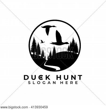 Duck Hunter Logo Vector Illustration Design, Duck Hunt Template Logo, Pine Tree In Black