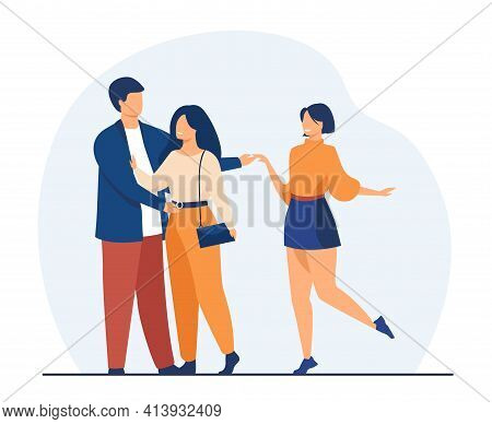 Man Cheating His Girlfriend With Another Woman. Love, Infidelity, Truth Flat Vector Illustration. Re