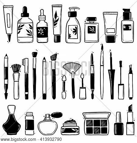 Hand Drawn Set Of Makeup Beauty Cosmetic Elements, Mascara, Cream Bottle, Nail Product, Skin Brush.