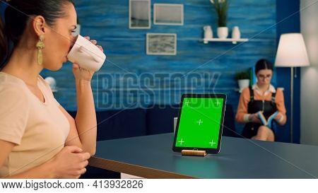 Freelancer Woman Browsing On Internet Business Advertising