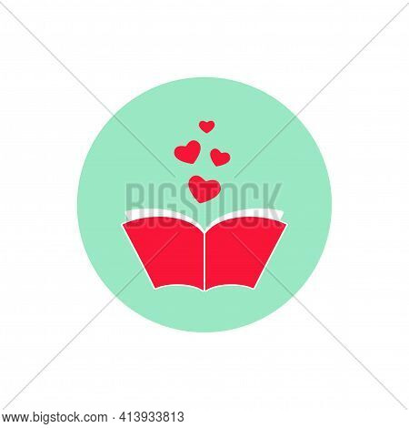 Open Book With Red Cover And Red Hearts In Turquoise Circle. Isolated On Turquoise Background. Bibli