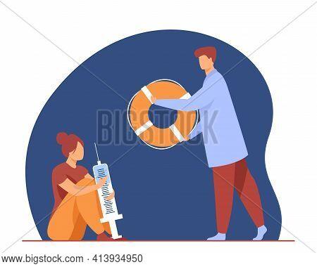 Doctor Helping Woman With Drug Addiction. Syringe, Life Preserver, Habit Flat Vector Illustration. M