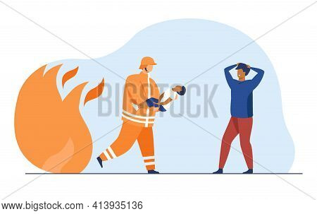 Brave Firefighter Carrying Little Boy And Saving Him From Fire. Kid, Life, Flame Flat Vector Illustr