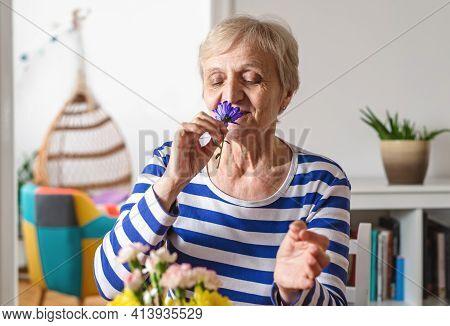 Senior people lifestyle. Senior woman relaxing at home while organizing flowers in vase. Senior woman domestic lifestyle. Lifestyle. Lifestyle of senior people at home. Pandemic lockdown lifestyle.