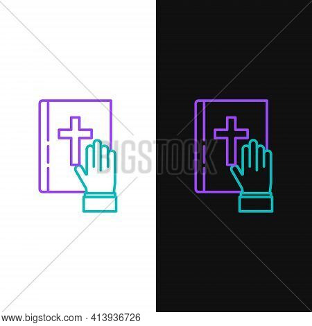 Line Oath On The Holy Bible Icon Isolated On White And Black Background. The Procedure In Court. Tru