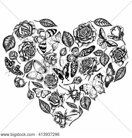 Heart Floral Design With Black And White Lemon Butterfly, Red Lacewing, African Giant Swallowtail, A