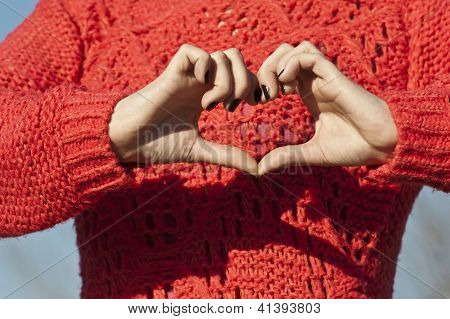 Shape of the heart made by female hands