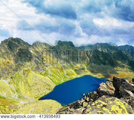 Lake Velke Hincovo pleso in High Tatra mountains ( Vysoke Tatry ), view from Koprovsky stit. Slovakia, Europe.