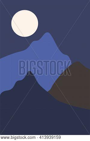 Modern Mountains Landscape Poster, Boho Wall Decor, Minimalist Art Print. Minimal Print For Design S