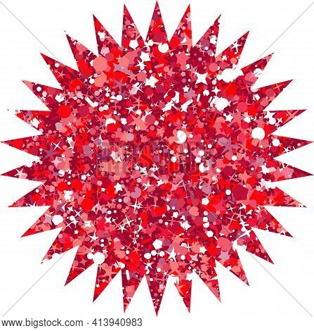 Vector Luxury Glitter Red Star. Rating, Award And Insignia.