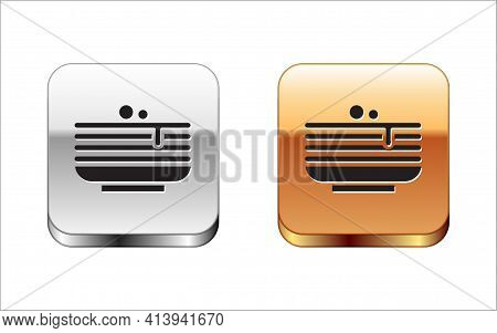 Black Stack Of Pancakes Icon Isolated On White Background. Baking With Syrup And Cherry. Breakfast C