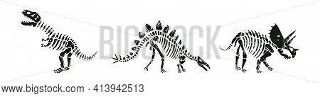 Stegosaurus, T-rex And Triceratops Dinos Black Silhouettes.