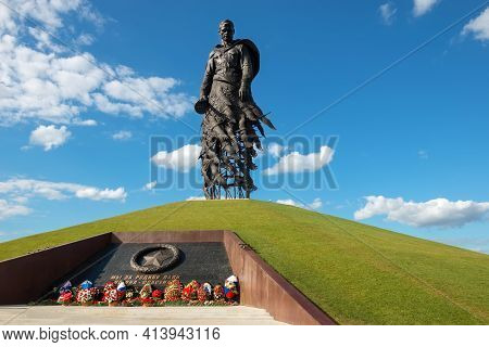 Rzhev, Tver Oblast, Russia - August 20, 2020: The Inscription On The Monument We Fell For Our Homela