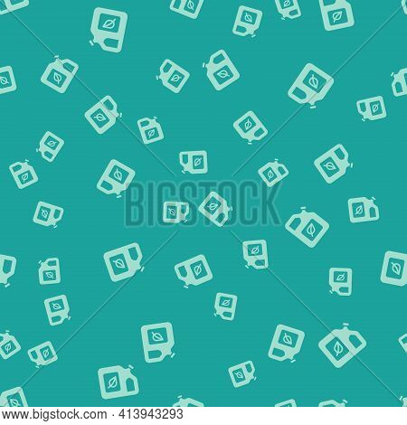 Green Bio Fuel Canister Icon Isolated Seamless Pattern On Green Background. Eco Bio And Barrel. Gree