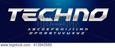 Techno Futurism Alphabet, Slant Modern Font. Steel Type For Modern Tech Logo, Headline Of Game, Car,