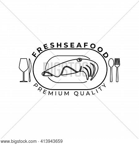 Cuttlefish Logo Vector Illustration Template Design, Seafood Restaurant Logo, Table Manner