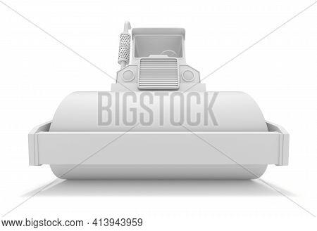 Clay Render Of Steamroller On White Background - 3d Illustration