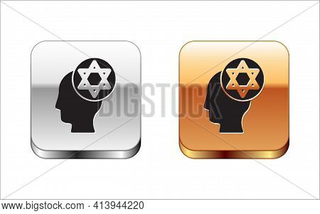 Black Orthodox Jewish Hat Icon Isolated On White Background. Jewish Men In The Traditional Clothing.