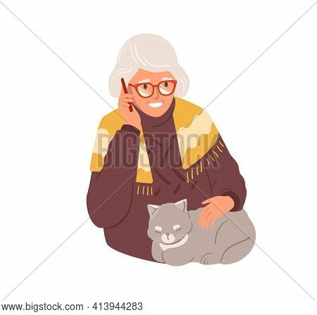 Happy Old Woman Talking On Mobile Phone. Granny Calling By Smartphone. Grandma In Glasses Using Cell
