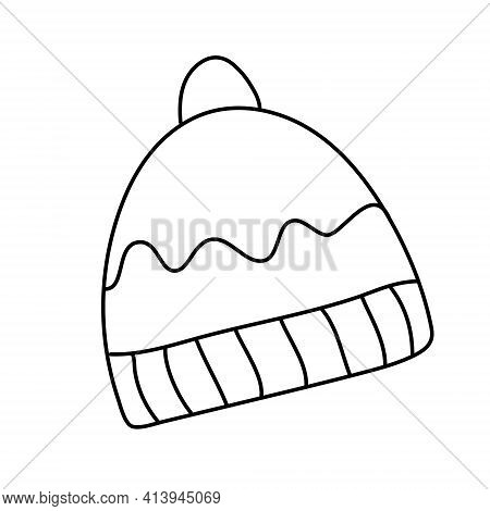 Hand Drawn Vector Illustration Of A Hat Decorated With A Pompom In Doodle Style On White Background.