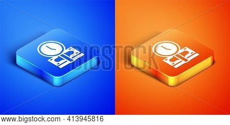 Isometric Time Is Money Icon Isolated On Blue And Orange Background. Money Is Time. Effective Time M