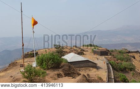 View Of Community Meeting Hall And The Top View Of Rajgad Fort, Pune, Maharashtra, India.