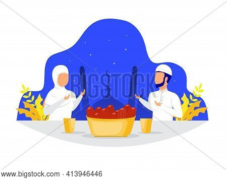 Muslim Family Dinner Or Iftar Eating After Fasting Feast Party Concept  On Ramadan Kareem Day Vector