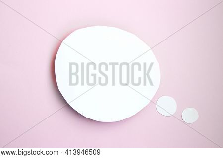 White Paper Speech Bubble Concept. Cartoon Speech With Clipping Path In The Form Of A Circle On Brig