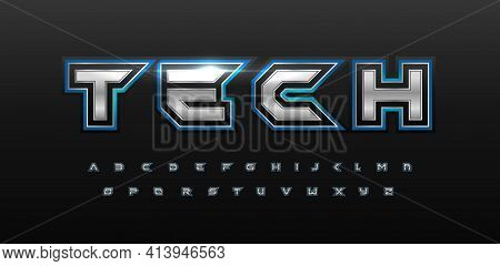 Game Futurism Alphabet. Techno Silver Font With Glow. Cyber Sport Type For Modern Futuristic Logo, H