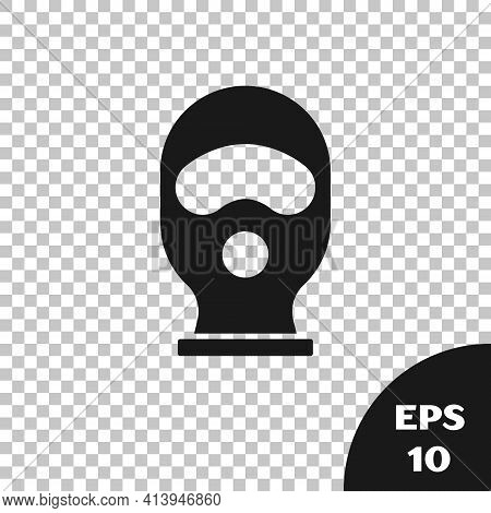 Black Balaclava Icon Isolated On Transparent Background. A Piece Of Clothing For Winter Sports Or A