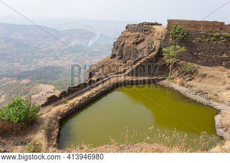 Small Lake On The Top Of The Rajgad Fort, Pune, Maharashtra, India.