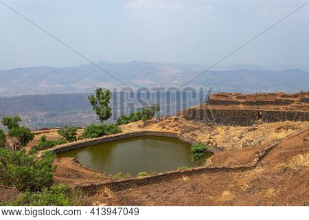 Full View Of Padmavati Lake From The Top, Rajgad Fort, Pune, Maharashtra, India.