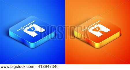 Isometric Drying Clothes Icon Isolated On Blue And Orange Background. Clean Shirt. Wash Clothes On A